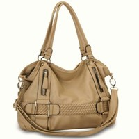 MG Collection Samantha Weave Belt Hobo Handbag, Beige, One Size