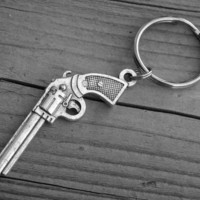 Silver Gun Keychain Gun Keyring Western Pistol Revolver Handgun Heavy Metal Punk Rock n Roll Rocker Rock and Roll Country Girl Southern