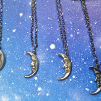Moon face charm necklace by lotusfairy on Etsy