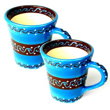 Set of Two Flared Cups Mugs - Azure Blue Mexican Pottery