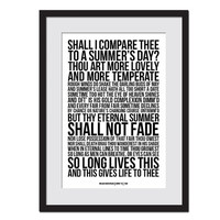 Sonnet 18 William Shakespeare - Shall I Compare Thee - Typography Quote Poster -  Literature Art Print - Literary Poster - Poetry Art Print