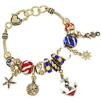 SeaLife Nautical Bracelet in Gold with Murano Beads