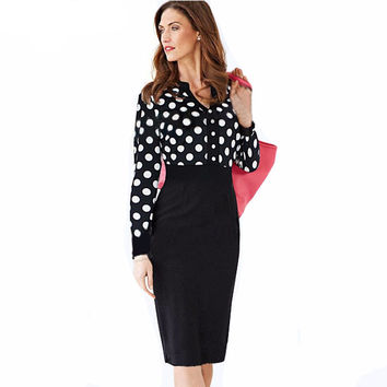 Polka Dot Elegant formal 2016 Auutmn Long Sleeve dress women Celebrity Ruched Bodycon  Evening Shift Pencil Midi party Dress