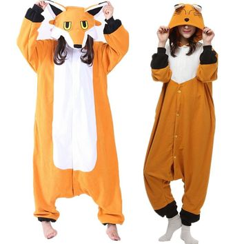 Polar Fleece Kigurumi Mr Fox Cosplay Costume Cartoon Onesuit Pajama Halloween Carnival Masquerade Party Jumpsuit Clothing