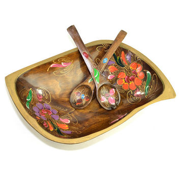 Wooden Batea Salad Serving & Utensil Set - Hand Painted Mexican Folk Art Travel Souvenir - Large Size, Unique Leaf Shape - Vintage Kitchen