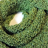 Lime Green Womens Hand Knit Shawl