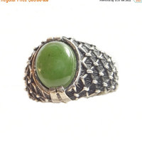 Sale - Valentines Day Sterling & Jade Gent's Ring with Bold Textured Setting Vintage Unisex Ring