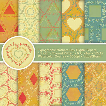 Retro Mothers Day Digital Paper, typographic patterns, mom quotes, watercolor digital mothers day papers, green and gold, Buy 2 Get 1 Free