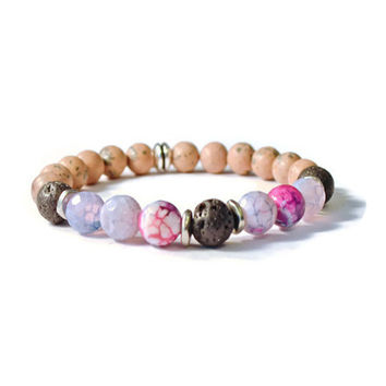 Aromatherapy Essential Oil Diffuser Stretch Bracelet, Natural Lava Stones with Purple Onyx and Grainstone