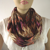 Chunky Chevron Scarf Infinity Scarf BROWN BEIGE CAMEL Infinity Loop Scarf Circle Scarf Medium Weight Neck Tube Scarf