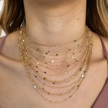 Shake It Layered Choker Necklace in Gold