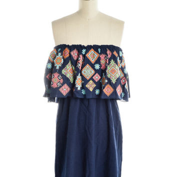Judith March Navy Shimmy Dress w/Ruffle Multi-Colored Embroidery