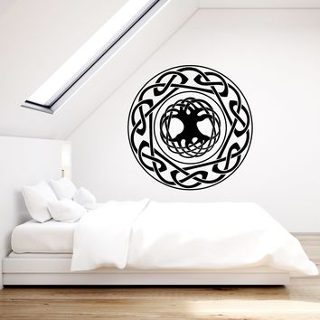 Vinyl Wall Decal Celtic Ornament Tree Of Life Ethnic Style Stickers (2793ig)