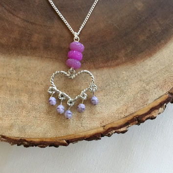 Heart Charm Necklace, Purple Chandelier Heart Charm Necklace, Valentines Necklace