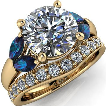 Adrenne Round Moissanite 4 Prong Double Alexandrite Marquise Side Ring