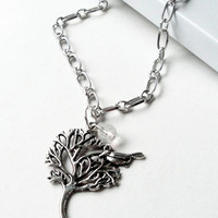 Tree Bird Silver Charm Necklace, Silver Chain Or Black Cord Tree Charm Necklace Gift Under 20 Bridesmaids Gift