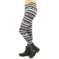 Lions Den Black And White Printed Leggings