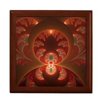 Luminous abstract modern orange red Fractal Jewelry Box