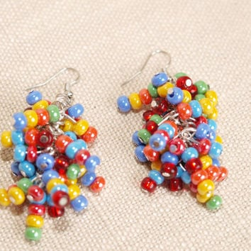 Earrings Rainbow beads earrings Colorful Earrings