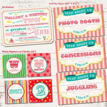 Circus Birthday Party Pack - Vintage Inspired Carnival / Retro Circus - Custom, Digital, Printable - Pinks, Golds and Turquoise
