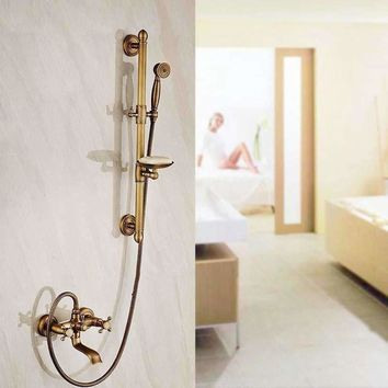 Antique Brass Shower Mixer Faucet with Soap Dishes Wall Mounted Dual Handles Bathroom Faucet