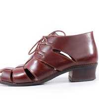 90s Vintage Cut Out Leather Ankle Boots Brown Lace Up Fisherman Booties Hipster Boho Retro Shoes Women Size US 8.5 UK 6.5 EUR 39