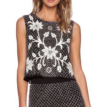 Needle & Thread Floral Mesh Top in Black