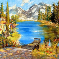 "Mountain - Wall Art Oil Painting On Canvas by Dmitry Spiros. Size: 28""x36"""