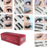 Bundle Monster 70 Pairs Fake / False Eyelashes - 7 Different Styles - 10 Pairs Each Variety Pack Se