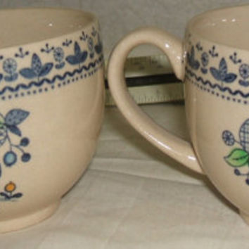 Johnson Brothers Sugar And Spice Blue Owl English Man Folk Art Hand Engraved Ironstone Coffee Mug Tea Cup Set of 2