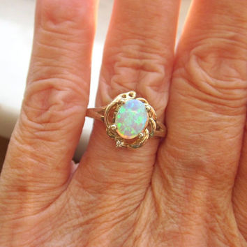 925 stamped sterling silver LC white opal ring size 7 diamond fire opal ring diamond rings opal jewelry white fire opals sterling opal rings