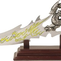 BladesUSA PK-2235 Fantasy Dragon Knife with Wood Display Stand, 7-1/2-Inch Overall