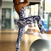Yoga Sexy Backless Slim Camouflage Sports Jumpsuit