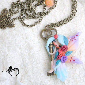 polymer clay necklace / fairy / clay / fimo / zingara creativa /fairy