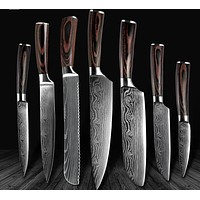 High-Quality Chef Knives Damascus steel 7 kitchen Knives Set - Makes Great Gift!
