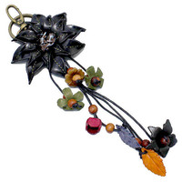 Black Leather Flower Multi-Color Wood Bead Flower Key Chain, Purse Accessory, Bag Charm, gift  USA SELLER
