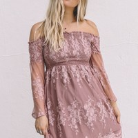 Let Me Be Yours Mauve Lace Dress