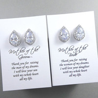 Stud Pear Crystal Earrings, Mother of the Groom / Bride Gift Set, Stud Clear Crystal Pear Earrings Mother of the Bride Gift Earrings