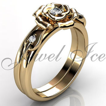 Engagement Ring Set - 14k Yellow Gold Diamond Unique Flower Wedding Band Engagement Ring Set Bridal Set Anniversary Ring Set ER-1127-2