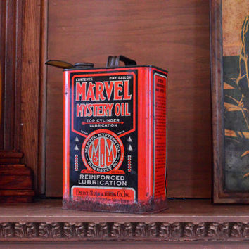 Vintage Marvel Mystery Oil Can, One Gallon Metal Oil Can, Emerol Manufacturing Co, New York