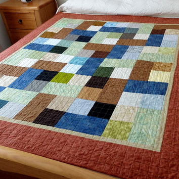 Masculine lap quilt, patchwork quilt for a boy or man, brown, blue, green single bed topper, bedding, modern men's lap quilt, college quilt
