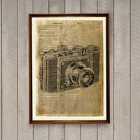 Old camera poster Vintage illustration Dictionary print Antique decor WA550