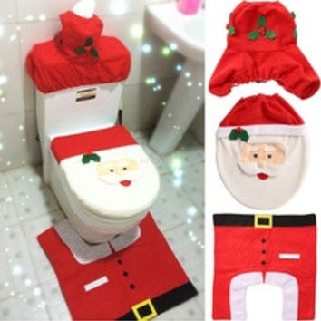 Happy Santa Toilet Seat Cover and Rug Bathroom Set 3 PCS Christmas Decorations  Home Decorates SV008463|27701 (Color: Red) [8384176071]