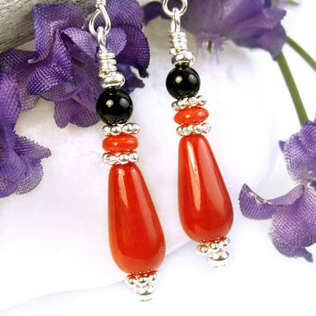Red Glass Earrings, Red Black Dangle Earrings, Black Onyx Red Glass Teardrop Dangles, Versatile Casual or Dressy Handmade Beaded Jewelry