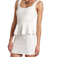 TEXTURED PEPLUM BODY-CON DRESS