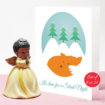Card Set of 8, Christmas Gift, Sleeping Fox, Winter, Pack of 24, Silent Night, XMAS, Holiday Decor, Box Set