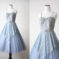 1950s dress  50s blue lace party dress by 1919vintage on Etsy