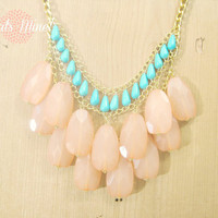 Coral and turquoise bib necklace on chunky gold chain, Coral and turquoise statement necklace