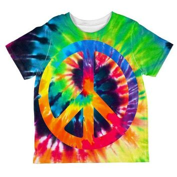 ONETOW Peace Sign Tie Dye All Over Toddler T Shirt