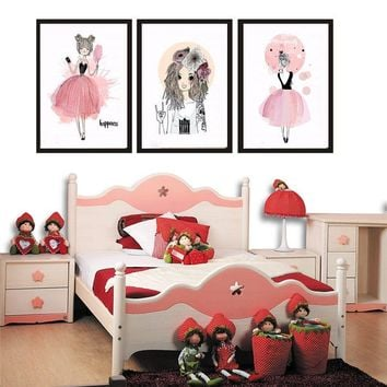 Figure Pretty Abstra Girl Nordic Canvas Painting Poster Print Pink Fashion Women Kid Bedroom Hotel Wall Art Backdrop Prop DIY